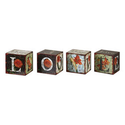 Uttermost - Love Letters Decorative Boxes, Set of 4 - Each Block Has Either The Word LOVE, LIVE, HOME Or HOPE On It. Each Block Is Adorned With Colorful Artwork In Which Letters Can Be Placed Together To Spell The Words LOVE, HOME Or LIVE.
