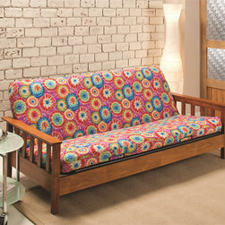 None - Stretch Jersey Tie-Dye Futon Slipcover - Add a splash of color to your futon with this tie-dyed patterned slip cover. Made from polyester and spandex,this slip cover is machine washable and comfortable.
