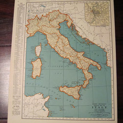 Vintage Map of Italy, 1935 Original by Past on Paper - Add some history to your space with this vintage map of Italy from 1935.