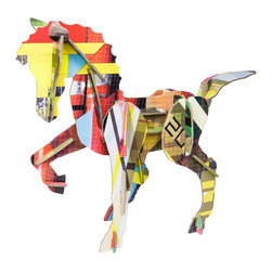 OOTS! - Totem: Horse Cardboard Toy - If you fall off your horse, you get back on. This delightful set, made from recycled cardboard, offers equestrian enthusiasts the chance to assemble their own horse. Teach a little learner about the complexity of a horse's graceful frame by giving them the chance to build it. Thereafter, trot or gallop or feed it sugar cubes to your heart's content.