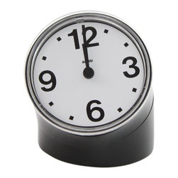 "Alessi - Alessi ""Cronotime"" Clock, Black - This is a desk clock in ABS with a unique but practical design."