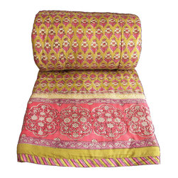 "Anokhi - Hand Block Printed Reversible Cotton Quilt, Amber Booti - This super soft, lightweight quilt is ideal as the only cover you'll need in hot summers, and for additional warmth in the winter. The quilt is fully reversible and is block printed with a matching border and a complementary print on the reverse side. It is exquisitely constructed, with a super-soft 100% cotton voile outer layer, all-cotton batting, and hand-stitched quilting. Although dry cleaning is recommended for easy care, it can be washed on a cold gentle program and hung to dry. SIZE: Queen 90"" x 108"""