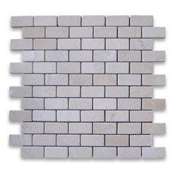 "Stone Center Corp - Spanish Crema Marfil Marble Subway Brick Mosaic Tile 1x2 Tumbled - Crema Marfil Marble 1x2"" brick pieces mounted on 12x12"" sturdy mesh tile sheet"