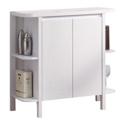 """Monarch Specialties - Monarch Specialties 2565 Bar Unit with Bottle and Glass Storage in White - This stylish and contemporary 36"""" high bar unit encompasses a design that is ideal for entertaining your guests. It features two doors where you conveniently find a place to hang glasses and a wine rack that can store up to 10 bottles. Its shelving area is great for making cocktail or displaying bar accessories. This white finished, solid-wood unit is practical, elegant and a must-have in every home!"""