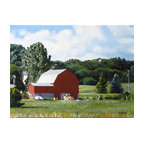 'Michigan Barn' Framed Painting - Greener pastures. This pastoral painting by noted artist Michael Ward is a great addition to your art collection. The realistic scene is created using acrylic paint on canvas.