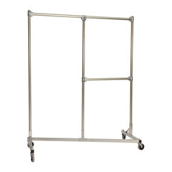 Z Racks - Heavy Duty Split Rail Garment Rack w Half Mid - Base Color: Silver. 500 lb Capacity. 5 in. heavy duty non-marring casters with revolving bumpers. Steering Handles. 5 ft. base - 14 gauge steel environmentally safe powder coated finish. Top Shelf (15.5 in. D x 56.5 in. L) 24 gauge steel wire. Bottom Shelf (19.25 in. D x 60 in. L) 24 gauge steel wire. Made in USA. 63 in. L x 23 in. W x 79 in. HThis new Split Rail Z-Rack is designed to maximize every inch, stay sturdy, and offer two hanging options. Both sides are 30 in. wide and have 6 ft. of hang space! The 30 in. hang rail is fully adjustable!