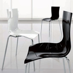 Aria Stackable Dining Chair By Tonin Casa - The Aria Stackable Dining Chair is available in shining black,shining black with decoration,shining white,shining white with decoration and transparent. Its base is offered with a round section,with square section or round bar. Pair the chair with any dining table from Tonin Casa.