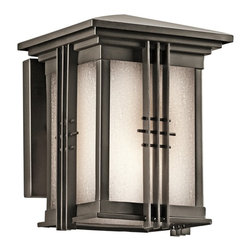 KICHLER - KICHLER 49157OZ Portman Square Arts and Crafts/Mission Outdoor Wall Sconce - The Arts and Crafts inspired Portman Square collection, in Olde Bronze over solid brass or Stainless Steel, incorporates elongated rectangle-shaped Etched Seedy glass highlighted by vertical metal banding. Contrasting rod crossbars make an elegant, yet simple statement.