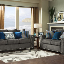 Furniture of America - Furniture of America Ivy Grey Blue Modern 2-Piece Sofa-Love Set - Give your living room a swanky look with the addition of this grey sofa and loveseat set. The hardwood frame ensures this set's durability for many years, and the included contrasting throw pillows really make this sofa and loveseat pop.