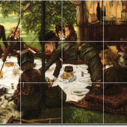 Picture-Tiles, LLC - Childrens Party Tile Mural By James Tissot - * MURAL SIZE: 12.75x17 inch tile mural using (12) 4.25x4.25 ceramic tiles-satin finish.