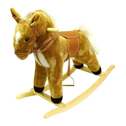 Happy Trails - Western Style Plush Rocking Horse w Sound - Recommended for ages 2 yrs. old & up. Recommended Weight Limit: 80 lbs.. Required 2 AA batteries for sound (not included). Soft and plush to the touch. Hand crafted with a hard wood core and stands on sturdy wood rockers. 28.75 in. L x 14.50 in. W x 25 in. H (13 lbs.). Seat Height: 18 in.This handsome rocking horse is sure to be your little cowboy's favorite. The horse features a tan bridal and saddle, and metal stirrups, complete with lifelike neighing sounds. This beautiful piece will surely be a focal point in any little boy's room.