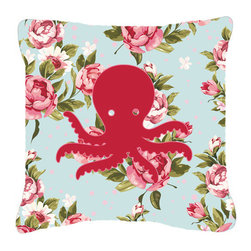 Caroline's Treasures - Octopus Shabby Chic Blue Roses Fabric Decorative Pillow Bb1090 - Indoor or Outdoor Pillow made of a heavyweight Canvas. Has the feel of Sunbrella Fabric. 14 inch x 14 inch 100% Polyester Fabric pillow Sham with pillow form. This pillow is made from our new canvas type fabric can be used Indoor or outdoor. Fade resistant, stain resistant and Machine washable.