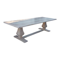 Fable Porch Furniture - Winston Dining Table - A solid table in a light finish makes for a piece of furniture that will last a lifetime. Hand carved pedestals supporting a two-inch thick ambrosia maple top in a natural finish speaks of the highest quality furniture. Your dining room will instantly brighten up with this beautiful table as its centerpiece.