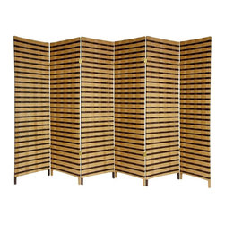 Oriental Unlimited - 6 ft. Tall 2-Tone Lightweight Natural Fiber R - A simple, effective and beautiful room divider. Entirely opaque, no light passes through the panel, providing complete privacy. Sturdy, lightweight, kiln dried Spruce panel frames. Wrapped with cross woven spun plant fiber cord. Entirely opaque, no light passes through the panels. Panels look great, same distinctive design front and back. Unique and attractive 2 tone design. Well crafted hinged panels, built from lightweight kiln dried Spruce frames. The frames are shaded with cross woven natural plant fiber cord. Shown in 6 panels. 70.75 in. H x 17.75 in. W (each panel)A perfect privacy screen, great for temporarily blocking light or the view from windows and doorways. An attractive decorative screen with an attractive two tone finish, great for creating a cozy nook for a table and chairs. Divide two spaces, redirect foot traffic, a light, portable, practical room divider at an unbeatable price.