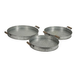 "IMAX - Galvanized Round Trays - Set of 3 - Galvanized trays make great table accessories. Stack them for a decorative look, use them to hold magazines or use them to serve breakfast in bed - any way you choose you will love them! Item Dimensions: (1.97""h x 14.57-17.32""w x 14.57-17.32"")"