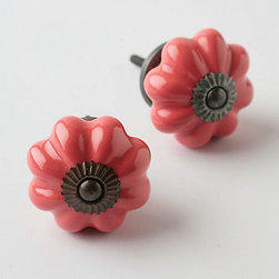 Ceramic Melon Knob, Coral - Add these to a chest of white drawers and you instantly have more pizzazz!