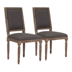 """Zuo - Set of 2 Zuo Cole Valley Charcoal Gray Chairs - Set of 2 Zuo Cole Valley Charcoal Gray Chairs. Set of 2. Charcoal gray linen upholstery. Weathered finish. Solid oak wood frame construction. No assembly required. Seat is 18 1/4"""" wide 16 1/2"""" deep 19 1/2"""" high. 40 1/4"""" high. 19 1/2"""" wide. 22"""" deep.  Set of 2.  Charcoal gray linen upholstery.  Weathered finish.  Solid oak wood frame construction.  No assembly required.  Seat is 18 1/4"""" wide 16 1/2"""" deep 19 1/2"""" high.  40 1/4"""" high.  19 1/2"""" wide.  22"""" deep."""