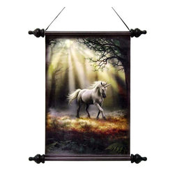 """EttansPalace - 17"""" Mystical Unicorn Canvas Wall Hanging Scroll Tapestry Display Hanging - Fleet of foot and marvelously muscular in form, a magical unicorn steps through the enchanted forest, dappled sunlight spreading across its path toward an unknown destiny. Embodying the victory that conquers darkness, our Design vinyl-canvas wall scroll tapestry hearkens back to the parchments of ancient libraries and mystical altars. With its black wooden rod and finials and its ebony ribbon hanger, this Stokes is ready for instant wall display."""