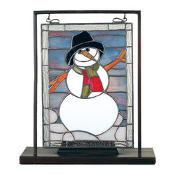 Meyda Tiffany - Snowman Lighted Mini Tabletop Window Panel - Requires one 60 watts candelabra type bulb. Made from 79 pieces of hand cut stained glass and handcrafted copperfoil. 9.5 in. L x 5 in. D x 10.5 in. H. Care InstructionsA winter white snowman dressed in black top hat and red and green striped scarf is ready to warm your home. This mini window is encased in a solid brass frame and hangs perfectly in it's own brass tabletop display.