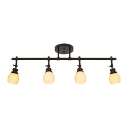 """ProTrack - Contemporary Elm Park 4-Head Bronze Track Wall or Ceiling Light Fixture - Brighten your home with this handsome wall or ceiling light fixture from Pro Track. A multi-directional track light that may be adjusted as needed. Canopy and downrods come in a handsome oil-rubbed bronze finish. With crackle-style amber glass. From Pro Track. Takes four 60 watt ceiling fan bulbs (not included). Canopy is 6 1/2"""" wide and 1"""" high. 36"""" wide. 10 1/2"""" high.  From Pro Track.  Oil-rubbed bronze finish.   Crackle-style amber glass.   Adjustable multi-directional lights.  Takes four 60 watt ceiling bulbs (not included).   Canopy is 6 1/2"""" wide and 1"""" high.  36"""" wide.   10 1/2"""" high.  Glass measures 4"""" high x 3 1/4"""" wide."""