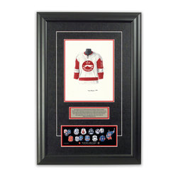 "Heritage Sports Art - Original art of the NHL 1977-78 Wayne Gretzky jersey - This beautifully framed piece features an original piece of watercolor artwork glass-framed in an attractive two inch wide black resin frame with a double mat. The outer dimensions of the framed piece are approximately 17"" wide x 24.5"" high, although the exact size will vary according to the size of the original piece of art. At the core of the framed piece is the actual piece of original artwork as painted by the artist on textured 100% rag, water-marked watercolor paper. In many cases the original artwork has handwritten notes in pencil from the artist. Simply put, this is beautiful, one-of-a-kind artwork. The outer mat is a rich textured black acid-free mat with a decorative inset white v-groove, while the inner mat is a complimentary colored acid-free mat reflecting one of the team's primary colors. The image of this framed piece shows the mat color that we use (Red). Beneath the artwork is a silver plate with black text describing the original artwork. The text for this piece will read: This original, one-of-a-kind watercolor painting of Wayne Gretzky's 1977-78  Sault St. Marie Greyhounds jersey is the original artwork that was used in the creation of this Wayne Gretzky jersey evolution print and tens of thousands of Wayne Gretzky products that have been sold across North America. This original piece of art was painted by artist Tino Paolini for Maple Leaf Productions Ltd. Beneath the silver plate is a 3"" x 9"" reproduction of a well known, best-selling print that celebrates Wayne Gretzky's hockey history. The print beautifully illustrates a chronological evolution of some of Wayne Gretzky's jerseys and shows you how the original art was used in the creation of this print. If you look closely, you will see that the print features the actual artwork being offered for sale. The piece is framed with an extremely high quality framing glass. We have used this glass style for many years with excellent results. We package every piece very carefully in a double layer of bubble wrap and a rigid double-wall cardboard package to avoid breakage at any point during the shipping process, but if damage does occur, we will gladly repair, replace or refund. Please note that all of our products come with a 90 day 100% satisfaction guarantee. Each framed piece also comes with a two page letter signed by Scott Sillcox describing the history behind the art. If there was an extra-special story about your piece of art, that story will be included in the letter. When you receive your framed piece, you should find the letter lightly attached to the front of the framed piece. If you have any questions, at any time, about the actual artwork or about any of the artist's handwritten notes on the artwork, I would love to tell you about them. After placing your order, please click the ""Contact Seller"" button to message me and I will tell you everything I can about your original piece of art. The artists and I spent well over ten years of our lives creating these pieces of original artwork, and in many cases there are stories I can tell you about your actual piece of artwork that might add an extra element of interest in your one-of-a-kind purchase."