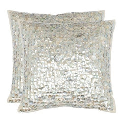 """Safavieh - Fiona 18"""" Decorative Pillows (Set of 2) - With a fresh, contemporary eye-catching pattern, this decorative pillow is a lovely addition to any decor. This throw pillow features a modern print design with a handwoven cotton and linen cover. This throw pillow cover features silver and ivory. Features: -Color: Silver. -Material: 30% Linen / 70% Cotton. -Modern print design with a handwoven cotton and linen cover."""