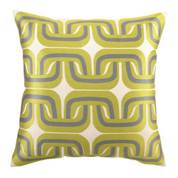 Trina Turk - Trina Turk Geo Links Citron/Grey Embroidered Pillow - In citron and grey, the effervescent Geo Links throw pillow makes a splash with its retro-inspired geometric pattern. This Trina Turk design is handcrafted with a focus on contemporary style for your bedroom, den or living space. Linen pillow with embroidered detail; Hidden zipper closure; Down pillow insert included