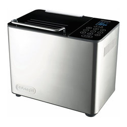 DeLonghi - DeLonghi DBM450 2-lb. Bread Machine - DBM450 - Shop for Bread Machines from Hayneedle.com! Let your inner breadmaker shine with the DeLonghi DBM450 2-lb. Bread Machine. Instead of buying bread at the grocery store or bakery make freshly baked delicious bread at home. With its fan-assisted baking system this bread machine produces an even baking temperature and reduces moisture. It features 15 standard programs for breads dough cakes and jams. The kneader removes easily from the loaf without leaving a large hole and it also incorporates all of the mix from the corners. This durable stainless-steel unit features easy-to-use touch screen controls a rapid-bake function and interior light so you can monitor the baking process. It allows you to set your own time for each bread-baking stage from pre-heat to kneading rising and baking. It automatically opens and dispenses ingredients at the appropriate time with the 4.5-ounce capacity ingredients dispenser. About De'Longhi USAFounded over a century ago when the De'Longhi family opened a workshop in Treviso Italy the De'Longhi brand set the standard for handcrafted quality and expert craftsmanship. Three generations later the people at De'Longhi believe design is timeless and strive to find beauty in everyday objects to bring style to your home. Expert manufacturing is also high on their priorities. De'Longhi tests their espresso machines to ensure that tens of thousands of perfect cups can be brewed by a single machine. They put all their products through the same rigorous tests and their factory features an entire wing devoted to product testing. De'Longhi works under the philosophy that the most beautiful product in the world is worthless if it's not built to last. Finally De'Longhi believes design is so much more than aesthetics. Design is ways to make people's lives easier. From their patented single touch systems to self-adjusting temperature controls they believe it's the small details that make a huge impact on how people enjoy a product.