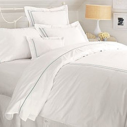 Pearl Embroidered Sham, Standard, Gray Mist - Expertly tailored, two rows of embroidered satin-stitched dots make our all-white linens pop with subtle style. 100% cotton percale. 280 thread count. Duvet cover has a hidden button closure and interior ties to keep the duvet in place. Sham has an envelope closure; insert is sold separately. Monogramming is available at an additional charge. Monogram will be centered on the cover and the sham. Machine wash. Catalog / Internet Only. Imported.