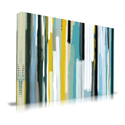 "Apt2B - Ocean' Print by Maxwell Dickson, 20"" x 30"" - Add a pop of modern color and pattern to any room. Printed with water-based and ecofriendly inks on archival museum-quality canvas, it features painterly vertical streaks in blue, aqua, gray, black, white and bright yellow and comes in different sizes ready to hang."