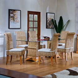 Hospitality Rattan - Sea Breeze 7 Piece Dining Set - This Sea Breeze Dining set is one of our unique hand crafted seagrass and wood collections. It makes for a wonderful island setting any dining area. Features: -8 piece rattan and wicker dining set.-Hand crafted with natural seagrass.-Coordinates with other seagrass items.-Set includes six side chairs and rectangular dining table with 42'' x 72'' glass.-Includes cushion as shown.-Durable wood frame construction, Rattan Poles & Woven Seagrass wicker.-Sea Breeze collection.-Collection: Sea Breeze.-Distressed: No.Dimensions: -Side chair Overall dimensions: 43'' H x 19'' W x 22'' D.-Pedestal dining table Overall dimensions: 30'' H x 21'' W x 12'' D.