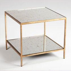 Zachary Bunching Coffee Table - With an antiqued mirror glass top and shelf, this table becomes an attention grabber when used in pairs. The sturdy steel frame is available in antiqued gold leaf and silver leaf finishes.