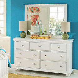 Lea Industries - Lea Lola 7 Drawer Dresser w/ Mirror in White - Lea Furniture Co., Inc. celebrates over 20 years of business in the U.S. as a leading manufacturer and distributor of fine quality furniture. Lea Furniture has succeeded in achieving this goal by securing a substantial place in the furniture industry nationwide. Even as their company has grown larger, the principles of a family run business trust, honesty and respect continue to be their foundation. When it comes to Lea Furniture products, it is their attention to detail and continued effort to satisfy you, the customer, which has secured their position as a leader in the furniture industry. From manufacturing facilities located overseas, Lea Furniture imports the highest quality, wood carved furniture into the United States. The products are then shipped to their corporate facilities where they are assembled and warehoused. With approx. 300,000 square feet of warehouse, assembly, and office space, they pledge to provide their customers with short turnaround times and special order capabilities based on their ability to support large capacities of inventory. Lea Furniture CO., Inc. supplies and services customers Worldwide from single stores to nationwide chain stores. - 327-271-040.  Product features: Solid wood and wood veneers construction; White finish; 7 Drawers. Product includes: Dresser (1); Mirror (1). 7 Drawer Dresser w/ Mirror in White belongs to Lola Collection by Lea Industries.