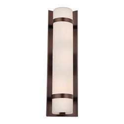 Design Classics Lighting - Bronze Vertical Wall Indoor / Outdoor Light - 15-1/4-Inches Tall - 118-220 - Modern wall sconce in bronze finish with white cylinder glass shade and two bronze metal band accents. Takes (2) 60-watt incandescent T10 bulb(s). Bulb(s) sold separately. UL listed. Damp location rated.