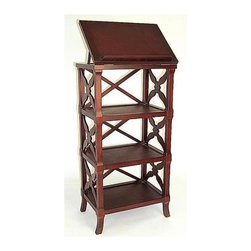 Wayborn - Charter Book Stand Display - Any serious book collector would love to own this exquisite Charter display stand to beautifully showcase their most treasured volumes.  Traditional style open base features three roomy shelves with tilt-top.  Finely crafted from wood with rich mahogany finish. 3 Shelves. Made from Birchwood. Smooth finish. 19 in. W x 25 in. D x 25 in. H (48 lbs.)