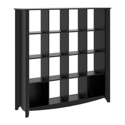 Bush - Bookcase with 16 Cubes in Classic Black Finis - Adaptable, contemporary style. Attractive and quarter turned legs. Rounded corners. Open compartments. Sophisticated design. Accommodates over sized books, manuals, photos, papers, binders, and more. Modern styling blends. Tough and durable top surface resists stains, scratches and watermarks. Wipe clean. Warranty: One year. Made from particleboard and laminates. 60 in. W x 17.99 in. D x 60.20 in. H (145 lbs.). Installation GuideA contemporary addition to any room, the Aero Collection Black 16-Cube Bookcase Room Divider is designed to be used against a wall or in the center of the room.