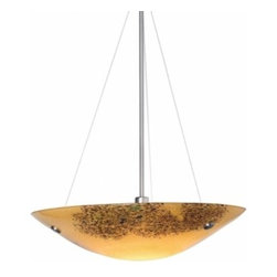 """LBL Lighting - LBL Lighting Veneto Grande pendant light - The Veneto Grande pendant light has been designed and made by LBL lighting. This light features Italian Murano glass in amber, mocha, red or opal color with dainty fused frit patterns and inlaid silver flakes to add just the right touch. This pendant can be adjusted it comes assembled with an overall length of 32"""" which can be extended to a maximum of 68"""" then you will also receive an additional 1 x additional 24"""" and 1 x additional 12"""" stem in your choice of satin nickel or bronze. The fixture Includes Fluorescent includes 3 x 26 watt G24Q-3 base quad tube compact fluorescent lamp and electronic ballast; Halogen includes 1 x 250 watt E11 mini-candelabra base halogen lamp and this fixure is cETL LISTED.         Product Details: The Veneto Grande pendant light has been designed and made by LBL lighting. This light features Italian Murano glass in amber, mocha, red or opal color with dainty fused frit patterns and inlaid silver flakes to add just the right touch. This pendant can be adjusted it comes assembled with an overall length of 32"""" which can be extended to a maximum of 68"""" then you will also receive an additional 1 x additional 24"""" and 1 x additional 12"""" stem in your choice of satin nickel or bronze.  The fixture Includes Fluorescent includes 3 x 26 watt G24Q-3 base quad tube compact fluorescent lamp and electronic ballast; Halogen includes 1 x 250 watt E11 mini-candelabra base halogen lamp and this fixure is cETL LISTED. Details:                         Manufacturer:            LBL Lighting                            Designer:            LBL Lighting                            Made in:            USA                            Dimensions:            Height: 4.9"""" (12.4 cm) X Diameter: 23.5"""" (59.7 cm)                            Light bulb:            3 x 26 watt G24Q-3 base quad tube compact fluorescent lamp and electronic ballast; Halogen includes 1 x 250 watt E11 mini-candelabra base halogen lamp      """