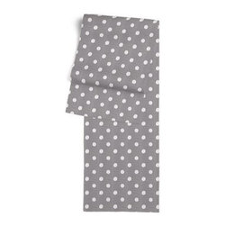 Gray & White Ikat Dot Custom Table Runner - Get ready to dine in style with your new Simple Table Runner. With clean rolled edges and hundreds of fabrics to choose from, it�۪s the perfect centerpiece to the well set table. We love it in this gray and white ikat polka dot for the preppy modern outdoor space.