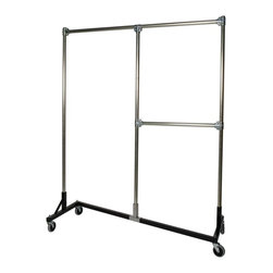 Z Racks - Heavy Duty Split Rail Garment Rack w Half Mid - Base Color: Black. 500 lb Capacity. 5 in. heavy duty non-marring casters with revolving bumpers. Steering Handles. 5 ft. base - 14 gauge steel environmentally safe powder coated finish. Top Shelf (15.5 in. D x 56.5 in. L) 24 gauge steel wire. Bottom Shelf (19.25 in. D x 60 in. L) 24 gauge steel wire. Made in USA. 63 in. L x 23 in. W x 79 in. HThis new Split Rail Z-Rack is designed to maximize every inch, stay sturdy, and offer two hanging options. Both sides are 30 in. wide and have 6 ft. of hang space! The 30 in. hang rail is fully adjustable!