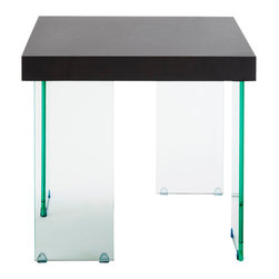 Eurostyle - Euro Style Cabrio Collection Side Table Glass in Clear/Wenge - Side Table Glass in Clear/Wenge in the Cabrio Collection by Eurostyle