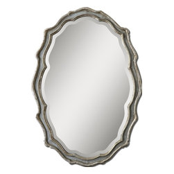 Slate Blue Vintage French Wall Mirror - *This curvaceous mirror features a frame finished in aged, slate blue accented with antiqued silver leaf details and a light gray wash.