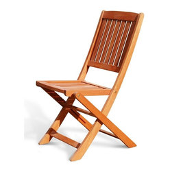 VIFAH - Glaser Folding Bistro Chair - Set of 2 - The simple, portable design of this folding bistro chair makes it a timeless addition to your deck or balcony. It's gorgeous outdoor wood furniture that is also value.