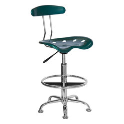 Vibrant Green and Chrome Drafting Stool with Tractor Seat