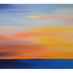 """I Can Only Imagine (Original) by Linda Bailey - This painting is from my 'Believe It' series. So many beautiful sunsets! How will we capture them all? The quiet and the stillness both make this time of the day special anyway. This is an original one of a kind painting created with acrylic paint on a gallery wrapped canvas. The canvas depth is 1.5"""" and the edges have been painted black.. This piece is ready for frame-free hanging. this landscape or seascape painting depicts the ocean up against a sunset or sunrise. The sun is gently lingering in the sky in a beautiful array of blue, yellow, pink and purple."""