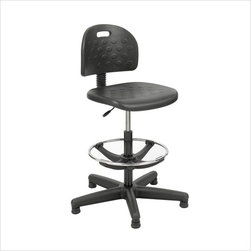 """Safco - Safco Economy Workbench Chair in Black - Safco - Drafting Chairs - 6680 - Features normally only found on more expensive seating combine to make this chair adaptable to a variety of users at a more economical price. Pneumatic seat height control. Features include backrest depth and height adjustment with ergo knobs and adjustable 18"""" foot ring. Durable 25"""" steel base with black nylon shell coating and nylon glides. Black microcellular self-skinning polyurethane foam seat and back. Some assembly is required."""