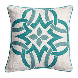 CELTIC KNOT PILLOW - BLUE - A pillow is to a sofa what a scarf or jewelry is to a little black dress. They are an easy way to update and refresh for the season, and you can slip the cover off whenever needed. Try our Celtic Knot Pillow Cover, made of cotton, embroidered with wool in a bright and fun shade. It's sophisticated enough for any room; that's what makes it beautiful.