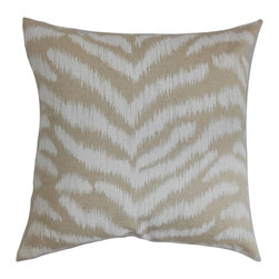 """The Pillow Collection - Aden Animal Print Pillow Pearl 18"""" x 18"""" - Transform your home into a gorgeous place with this chic and elegant accent pillow. This decor pillow features a stunning animal print in neutral hues. This square pillow is perfect for a safari-inspired decor style. You can mix and match other animal print patterns from our pillow collection. Prop up this toss pillow on top of your couch, sofa or bed. Made of 100% plush cotton material. Hidden zipper closure for easy cover removal.  Knife edge finish on all four sides.  Reversible pillow with the same fabric on the back side.  Spot cleaning suggested."""
