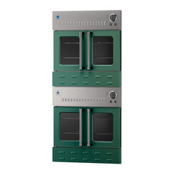 """30"""" BlueStar Double Gas Wall Oven - Moss Green (RAL 6005) 30"""" double wall oven features easy-to-use French doors, providing a unique look and simple functionality. All sizes are available in 190 different colors. Each oven contains a powerful 25,000 BTU burner and a 15,000 BTU ceramic infrared broiler. Powerful gas oven performance combined with the striking style of French Doors and a choice of 190 different colors."""