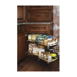 Organization Options from Kemper Cabinets - Blind bases are the absolute worst.... until this handy curved pull out was invented.  It brings everything in that hard to reach cabinet right out in front of you.