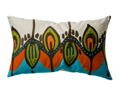 KOKO - Illusion Pillow, Field - The vibrant colors and design of this pillow will have you dreaming of an island getaway. It would make a great statement on a sofa or side chair. And the embroidery and applique detail add beautiful texture.